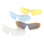 UV400 Protection PC Lens Resin Frame Sunglasses/Goggles Set - Silver Frame