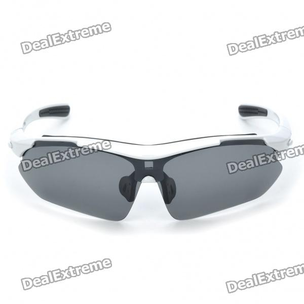 UV400 Protection PC Lens Resin Frame Sunglasses/Goggles Set - White Frame