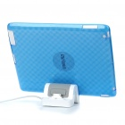 Stylish Protective TPU Back Case + USB Powered Charger Stand for iPad 2 - Transparent Blue