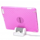 Stylish Protective TPU Back Case + USB Powered Charger Stand for iPad 2 - Transparent Pink