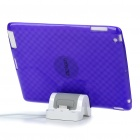 Stylish Protective TPU Back Case + USB Powered Charger Stand for iPad 2 - Transparent Purple
