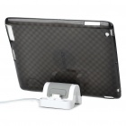 Stylish Protective TPU Back Case + USB Powered Charger Stand for iPad 2 - Transparent Black