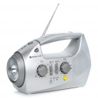Solar/Battery/Hand Generator/AC/DC Powered FM Radio w/Charger/Flashlight/Desktop Lamp/Alarm