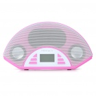"1.4"" LCD USB Rechargeable MP3 Music Speaker with FM Radio/SD/MMC/USB/AUX - Pink"