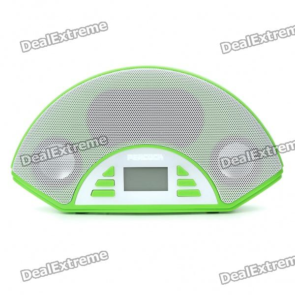 "1.4"" LCD USB Rechargeable MP3 Music Speaker with FM Radio/SD/MMC/USB/AUX - Green"