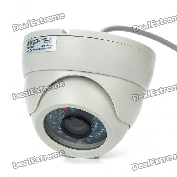 1/3 Sharp CCD Surveillance Security Camera with 20-IR Night Vision - White (DC 12V) 1 3 mp cmos cctv ahd camera ahd m 960p 2500tvl security surveillance mini dome camera with ir cut filter night vision 1080p lens
