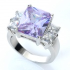 Stylish Copper Alloy Ring - Silver + Purple (Size 7)