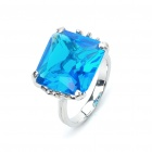 Stylish Copper Alloy Ring - Silver + Blue (Size 5)
