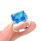 Stylish Copper Alloy Ring - Silver + Blue (Size 7)