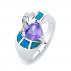 Stylish Copper Alloy Ring - Silver + Purple + Blue (Size 6)