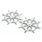 Ship Steering Wheel Style Car Decoration Stickers - Silver (Pair)