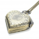 Vintage Heart Shaped Water Resistant Pocket Watch with Long Chains - Antique Brass (1 x 377)