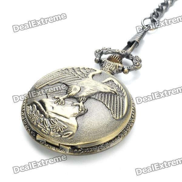 Vintage Eagle Pattern Water Resistant Quartz Pocket Watch with Chains - Antique Brass (1 x 377)Pocket Watches<br>Form  ColorAntique BrassStylePocket WatchDisplay Format12Water ResistantFor daily wear. Suitable for everyday use. Wearable while water is being splashed but not under any pressure.Packing List<br>