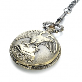 Vintage Eagle Pattern Water Resistant Quartz Pocket Watch with Chains - Antique Brass (1 x 377)
