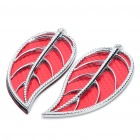 Fashion Leaf Style Auto Car Door Guard Protectors Decorative Sticker - Red (Pair)