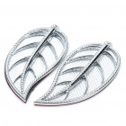 Fashion Leaf Style Auto Car Door Guard Protectors Decorative Sticker - Silver (Pair)