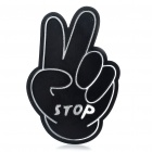 Cute Victory Gesture Style STOP Symbol Car Decorative Sticker - Black