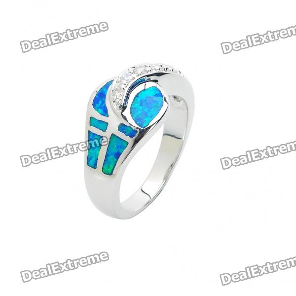 Elegant Opal Style Copper Alloy Ring (Size 7)