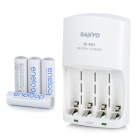 SANYO AA/AAA Battery Charger + 4 x Rechargeable 1.2V 1900mAh Ni-MH AA Batteries (100~240V)