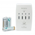 SONY AA/AAA Battery Charger + 4 x Rechargeable 1.2V 2000mAh Ni-MH AA Batteries (100~240V)