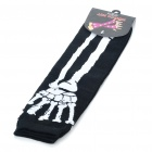 Cool Skeleton Hand Pattern Fingerless Arm Warmer Sleeves - White + Black (Pair)