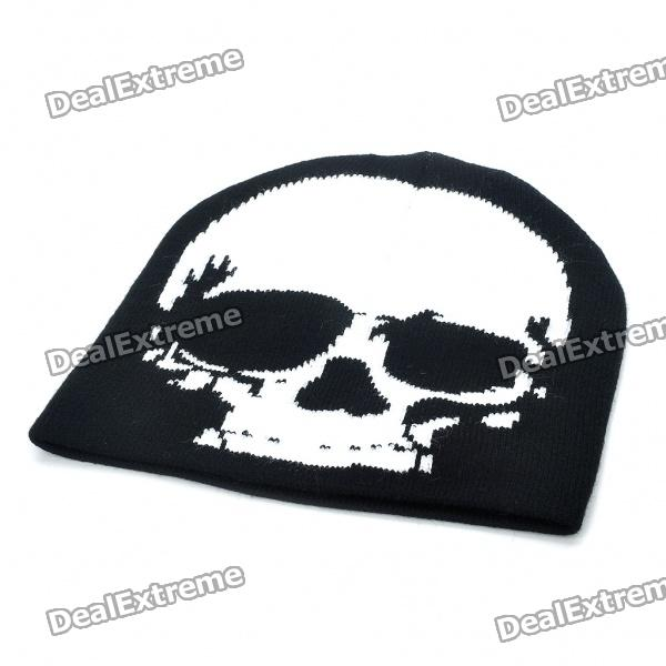 Fashion Skull Pattern Hat Cap - Black + White