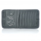Mickey Mouse Pattern Auto Car Leather Sunshade Board with CD Storage Bag - Grey (Holds-9CD)