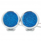 1.2W 2000K 40LM 15-LED Blue Light Car Decorative Lamps - Silver + Blue (DC 12V/Pair)