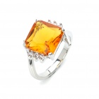Stylish Crystal Copper Alloy Ring - Silver + Yellow (Size 5)