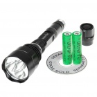 FandyFire STL-V2 5-Mode 3000-Lumen White 3-LED Flashlight w/ CREE XM-LT6 - Black (2 x 18650)
