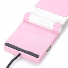 Portable Folding Anti-Slip Cell Phone Mobile Holder with USB HUB - Pink