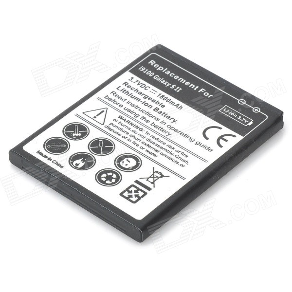 Replacement 3.7V 1800mAh Battery for Samsung i9100 Galaxy S2 - Black