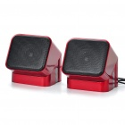 Unique 180 Degree Rotatable USB Powered Speakers - Red
