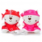 Plush Bear Figure Pattern USB Powered Music Speaker - Red + Pink (Pair/3.5mm Jack)