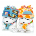 Plush MashiMaro Figure Pattern USB Powered Music Speaker - White + Blue + Yellow (Pair/3.5mm Jack)