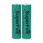 "SuperFire 18650 3.7V ""2600mAh"" Lithium Batteries - Green (Pair)"