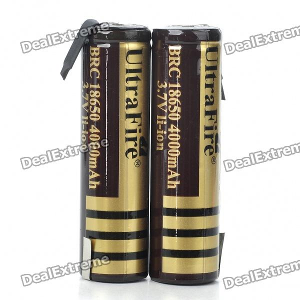 UltraFire BRC 18650 3.7V 4000mAh Li-ion Batteries - Black + Golden (Pair) - DXBatteries <br>18650 cylindrical rechargeable batteries - Actual Capacity: 3.7V 1800~2000mAh - Package contains 2 batteries<br>