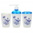 Compact Plastic Toothpaste & Toothbrush Holder + Cup + Shower Gel Bottle Set (Set of 3)
