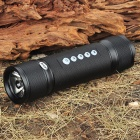 Rechargeable 3-Mode LED Flashlight w/ SOS Function/MP3 Music Speaker/TF Slot/FM Radio - Black (4GB)