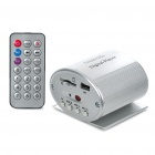 Mini Screen-Free MP3 Music Player with Remote Control/SD/USB/3.5mm Audio Jack - Silver (12V)