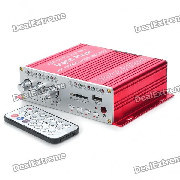 160W Hi-Fi Stereo Amplifier MP3 Player w/ SD/USB for Car/Motorcycle - Red + Silver (12V)