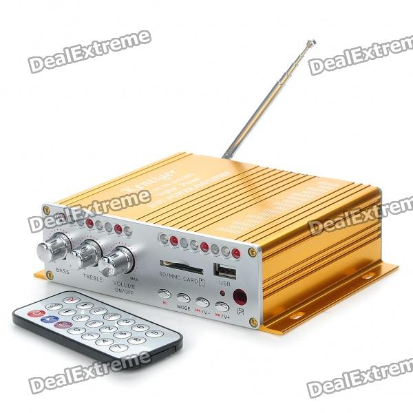 160W Hi-Fi Stereo Amplifier MP3 Player w/ FM/SD/USB for Car/Motorcycle - Golden + Silver (12V)