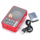 Vintage Rechargeable MP3 Music Speaker Player with Colorful Flash Light/FM/USB/TF - Red