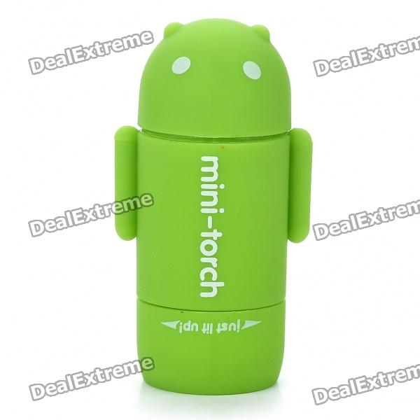 Mini Android Figure Style USB Rechargeable 2-Mode White LED Flashlight - Green
