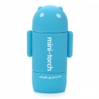 Mini Android Figure Style USB Rechargeable 2-Mode White LED Flashlight - Blue