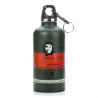 Stainless Steel Vacuum Bottle Flask with Carabiner Clip - Green + Red (350ml)
