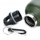 Stainless Steel Vacuum Bottle Flask with Carabiner Clip - Green + Red (500ml)