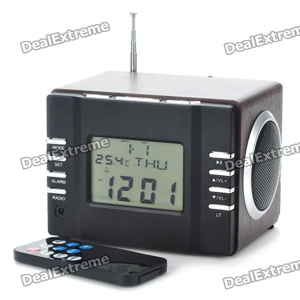 2 7 lcd mp3 player speaker w calendar temperature display fm alarm clock line in sd usb 2 x. Black Bedroom Furniture Sets. Home Design Ideas