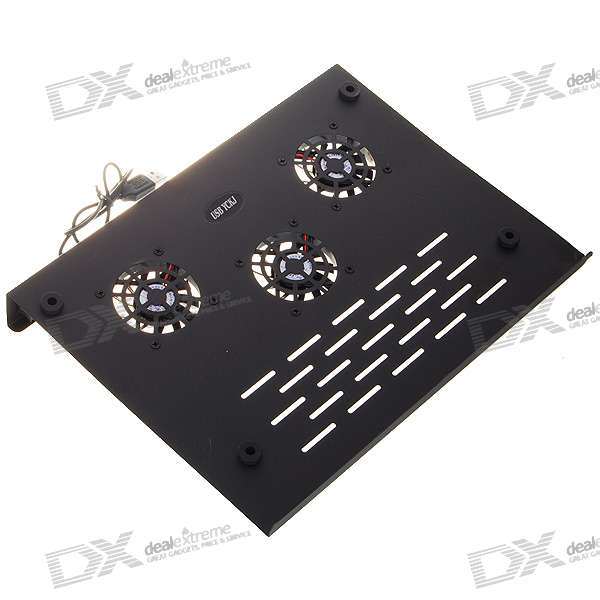 High-Performance 3-Fan Laptop Cooling Pad with 4-Port USB Hub