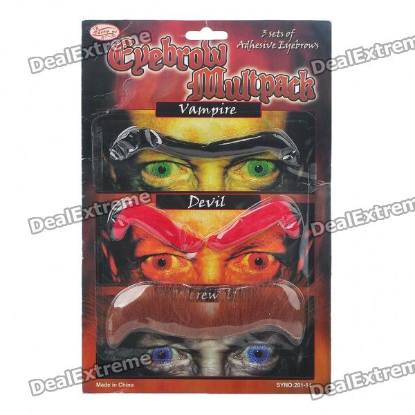 Costume Party Cosplay Artificial Eyebrows Set (3-Pair)